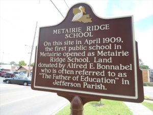 Old Metairie School Marker | Old Metairie Garden Club