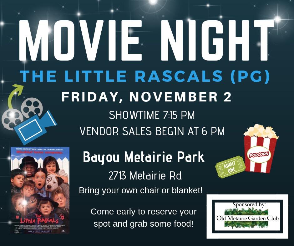 Movie Night November 2nd   Old Metairie Garden Club