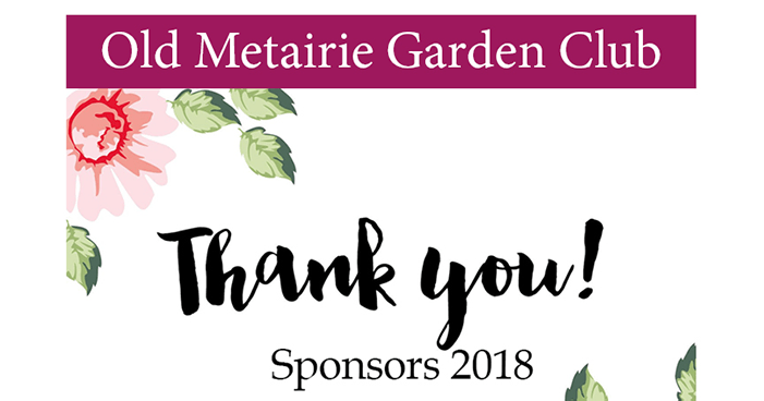 Sponsor Thank You   Old Metairie Garden Club