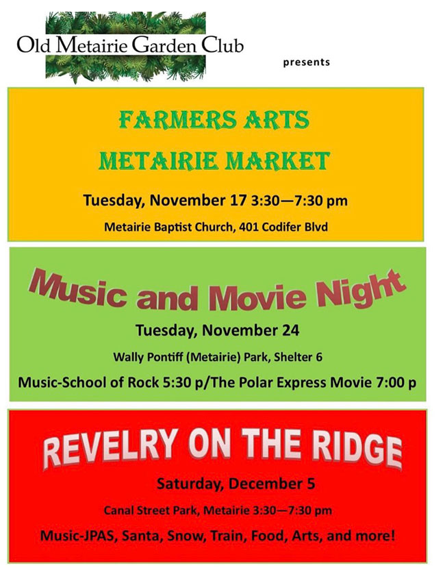 Old Metairie Garden Club Calendar of Events